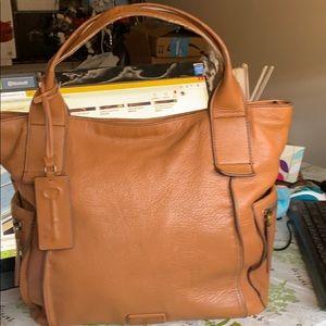 Fossil Emerson Satchel leather handbag tan